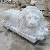 Marble Sleeping Lion Statue for Home Garden Decoration